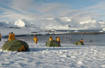 Camping on the ice in Antarctica